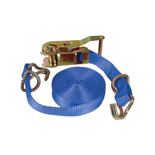 No.802 Polyester Ratchet Tie-Down c/w Double J Hook & D Rings (Conforms to EN12195-2)