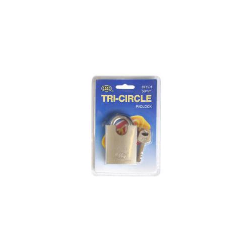 No.BR5 Solid Brass Tri-Circle Close Shackle Padlock