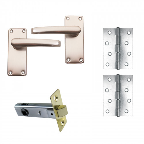DoorPack A - 1pr Butt Hinge with Tubular Latch & Lever Handle Prepacked with Fittings