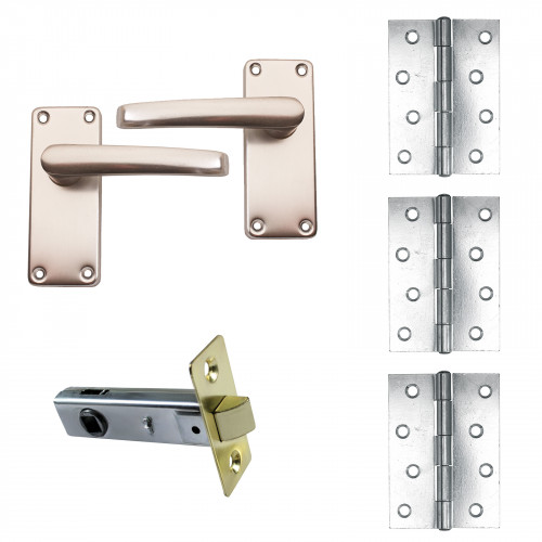DoorPack B - 1.5pr Butt Hinge with Tubular Latch & Lever Handle Prepacked with Fittings