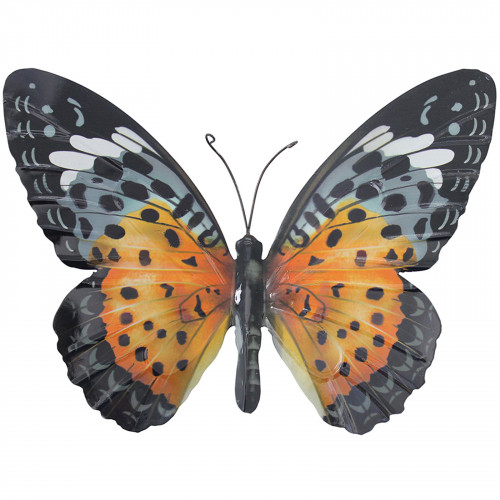 Large Metal Butterfly Plaque - Orange and Black PA1640