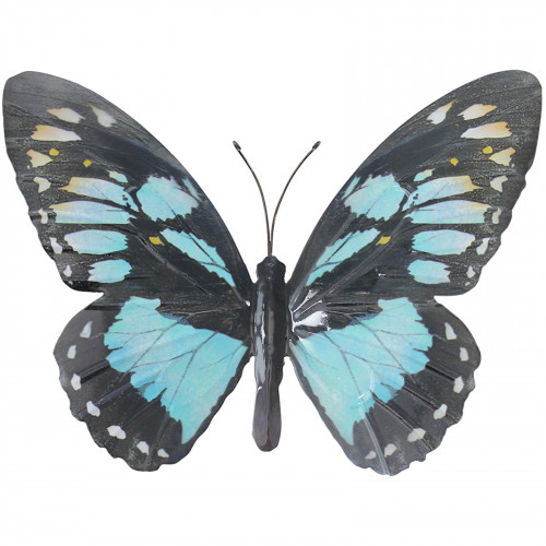 Large Metal Butterfly Plaque - Cyan PA1645