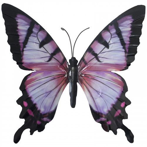 Large Metal Butterfly Plaque - Pink and Black PA1651