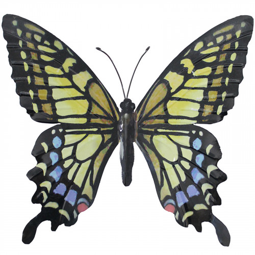 Large Metal Butterfly Plaque - Yellow Blue and Black PA1652