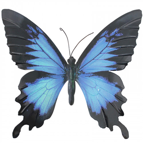 Large Metal Butterfly Plaque - Blue and Black PA1653