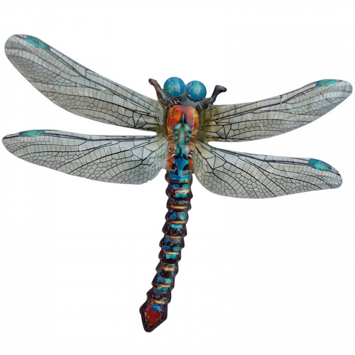 Large Metal Dragonfly Plaque - Blue PA1850