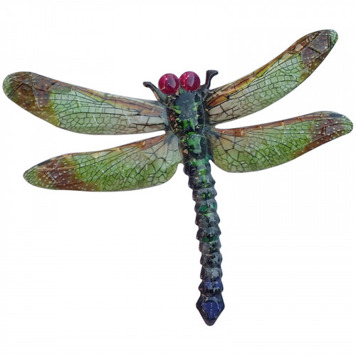 Large Metal Dragonfly Plaque - Green PA1851
