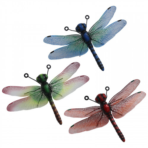 No.PA1859 Small Metal Dragonfly Wall Art - Green, Blue & Red