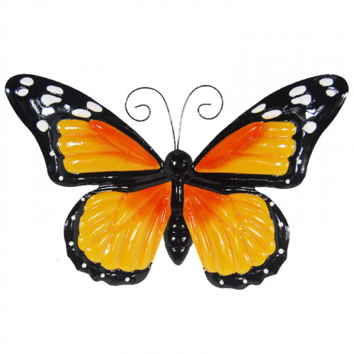 Large Metal Butterfly with Flapping Wings - Orange