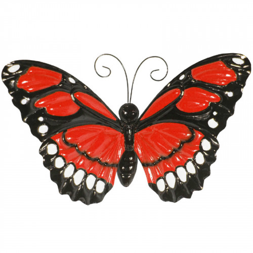 Large Metal Butterfly with Flapping Wings - Red