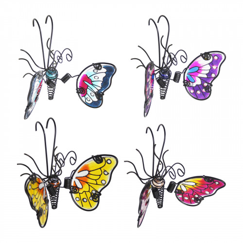 No.PA4009 Glass Wing Spring-tail Butterfly Pot Hanger - Blue, Pink, Purple & Yellow