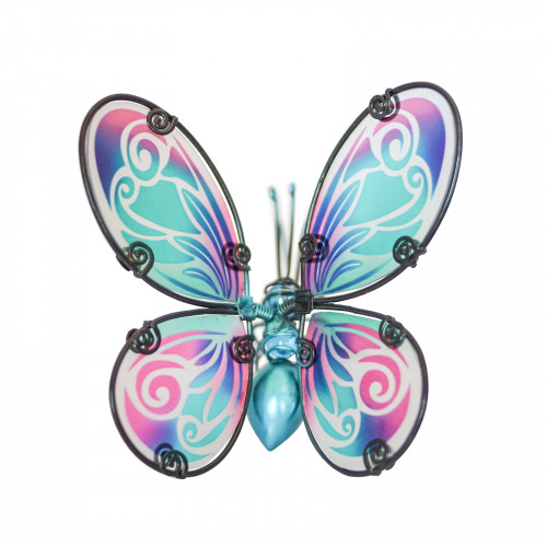 No.PA4014 Glass Wing Fancy Butterfly Pot Hanger - Blue