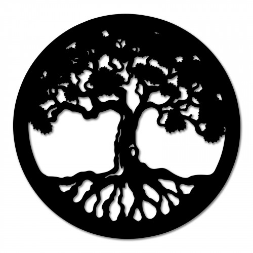 No.PA5047 Black Metal Round Tree of Life Wall Art
