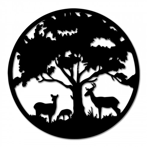 No.PA5061 Black Metal Round Tree with Deer Wall Art
