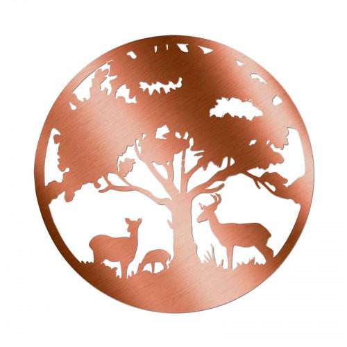 No.PA5061BZ Bronze Metal Round Deer Family Silhouette Wall Art