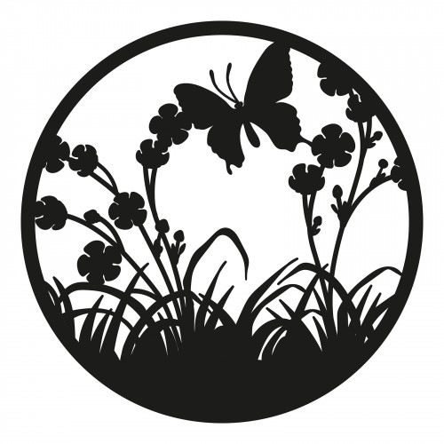 No.PA5062 Black Metal Round Flower with Butterfly Wall Art
