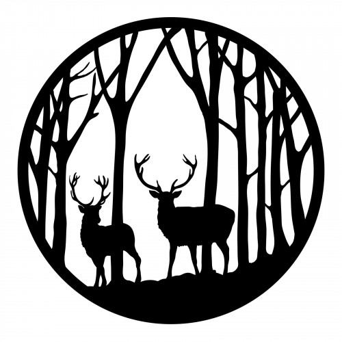 No.PA5064 Black Metal Round Forest with Stag Wall Art