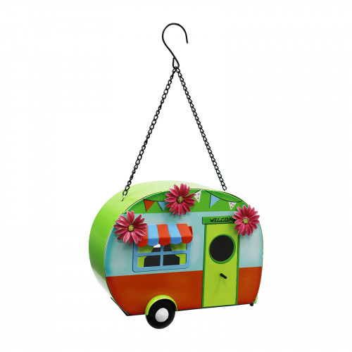 No.PB9063 Funky Metal Caravan Bird House - Green & Orange