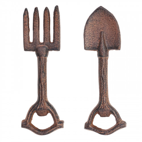 Cast Iron Set of 2 Garden Tool Bottle Openers