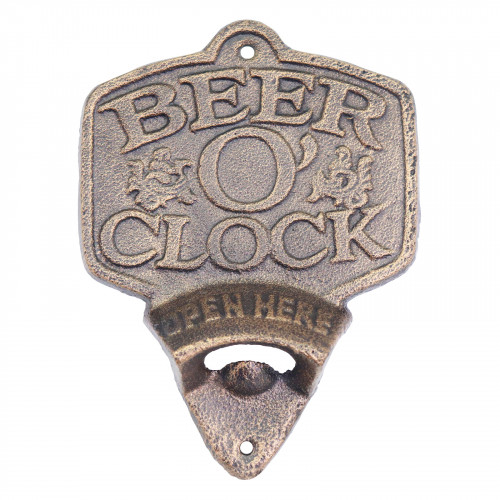 Cast Iron Beer O'Clock Wall Mounted Bottle Opener