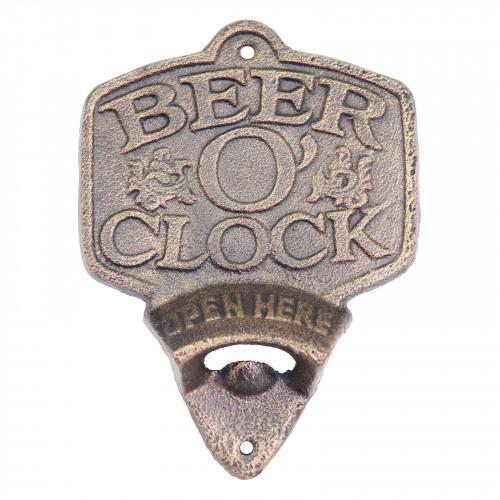 Cast Iron Beer O'Clock Wall Mounted Bottle Opener