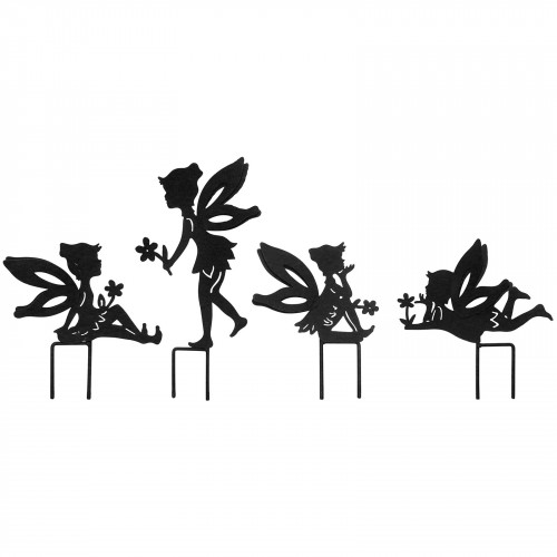 Set Of 4 Small Fairy Metal Garden Stake Silhouettes - Black PF3510B