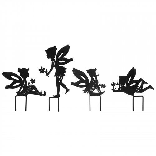 Set Of 4 SmallFairy Metal Garden Stake Silhouettes - Black PF3510B