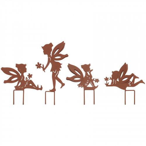 Set Of 4 Small Fairy Metal Garden Stake Silhouettes - Rust PF3510R