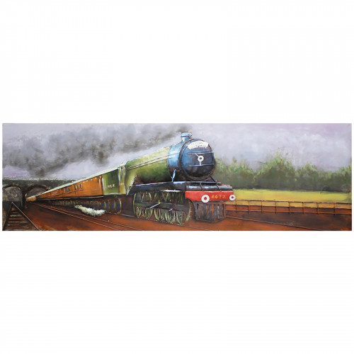 Iron Steam Train - 3D Metal Art on Metal Canvas PG1017