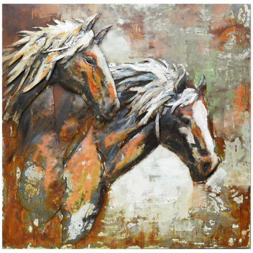 Stallions of the Range - 3D Metal Art on Metal Canvas PG1814