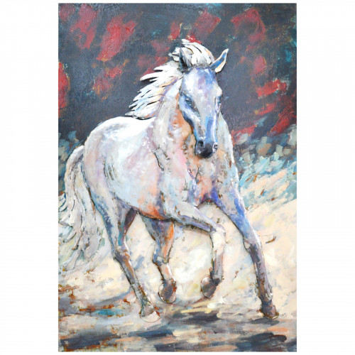 White Stallion - 3D Metal Art on Metal Canvas PG1815