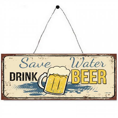No.PH1522 Save Water, Drink Beer Plaque - 36 x 13cm