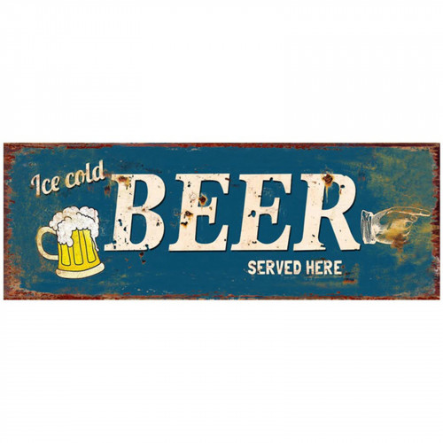 No.PH1524 Beer Served Here Plaque - 36 x 13cm