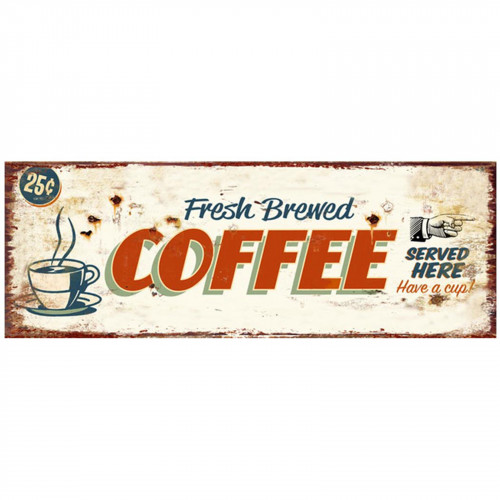 No.PH1525 Coffee Served Here Plaque - 36 x 13cm