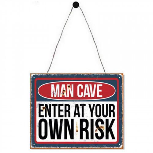 No.PH1604 Man Cave Enter At Own Risk Plaque - 25 x 20cm