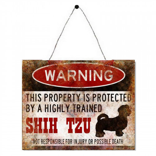 Warning Shih Tzu Metal Plaque PH1606