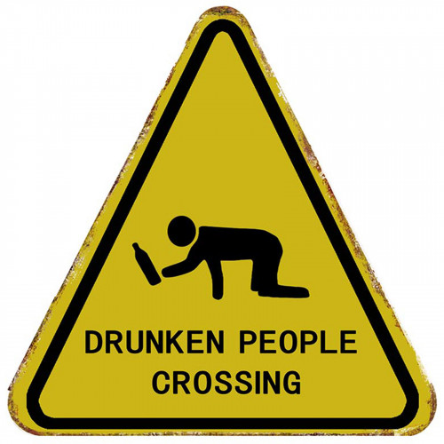 Drunk People Crossing Road Sign Metal Plaque PH1951
