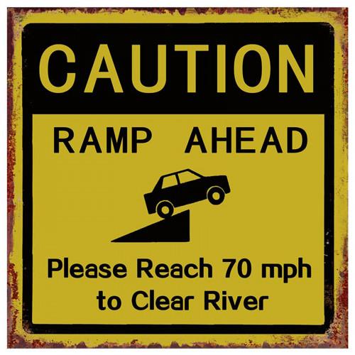 Caution Ramp Ahead Road Sign Metal Plaque PH1952