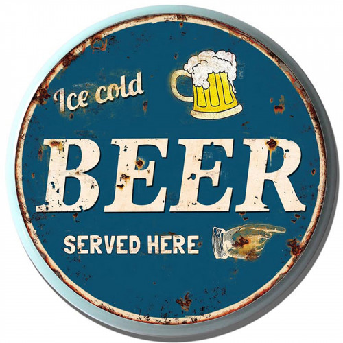 Beer Served Here Metal Circle Plaque PH2024
