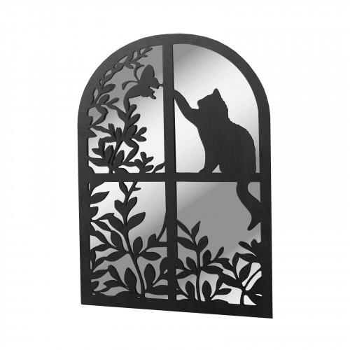 No.PM5010 Black Metal Cat in Round Top Window Garden Mirror
