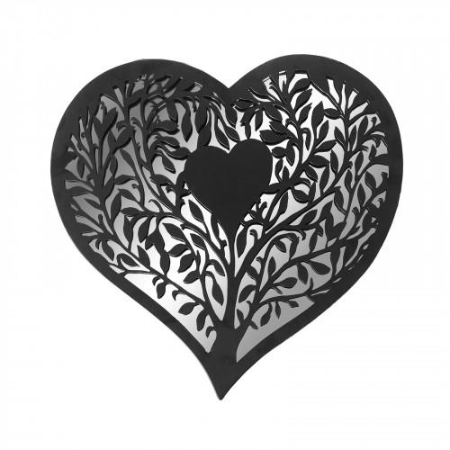 No.PM5015 Black Metal Heart Silhouette Mirror