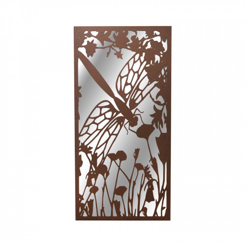No.PM5030 Portrait Rusted Metal Dragonfly Garden Mirror