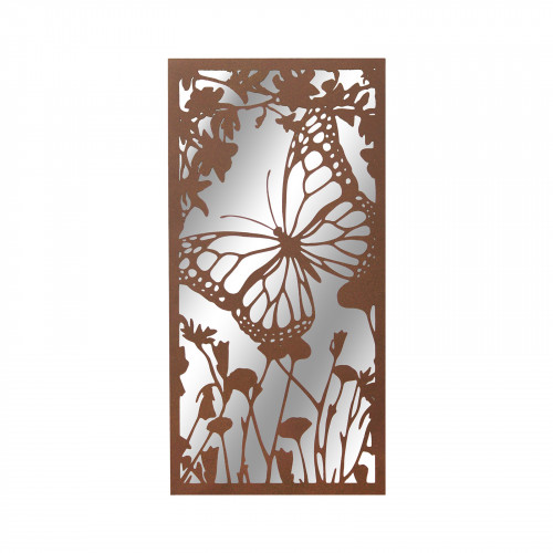 No.PM5031 Portrait Rusted Metal Butterfly Garden Mirror