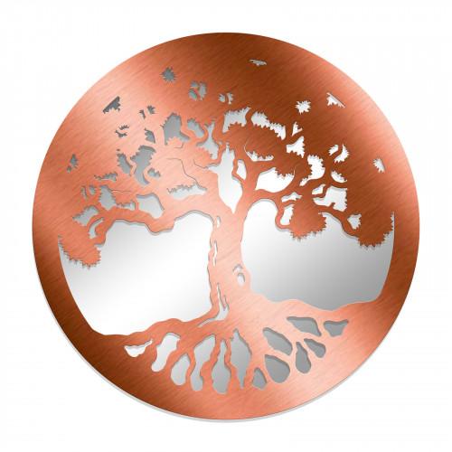 No.PM5047BZ Bronze Metal Round Tree of Life Silhouette Mirror