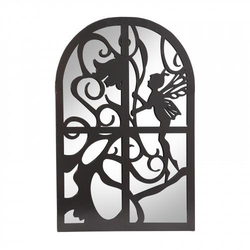 No.PM5050 Black Metal Fairy in Window Garden Mirror