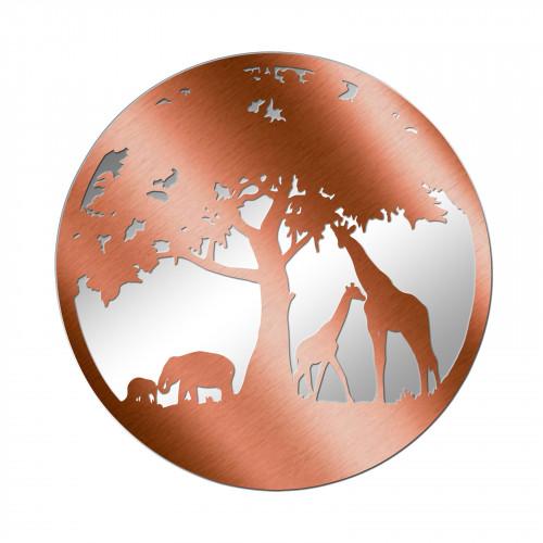 No.PM5060BZ Bronze Metal Round African Wildlife Silhouette Mirror