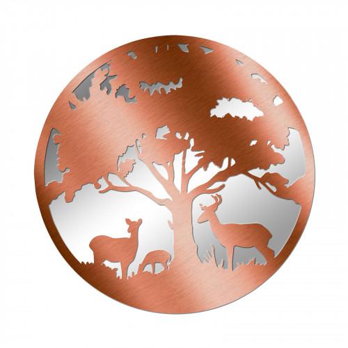 No.PM5061BZ Bronze Metal Round Deer Family Silhouette Mirror
