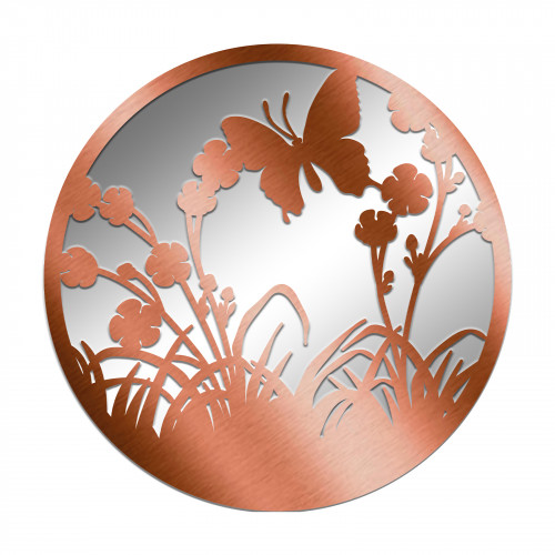 No.PM5062BZ Bronze Metal Round Flying Butterfly Silhouette Mirror