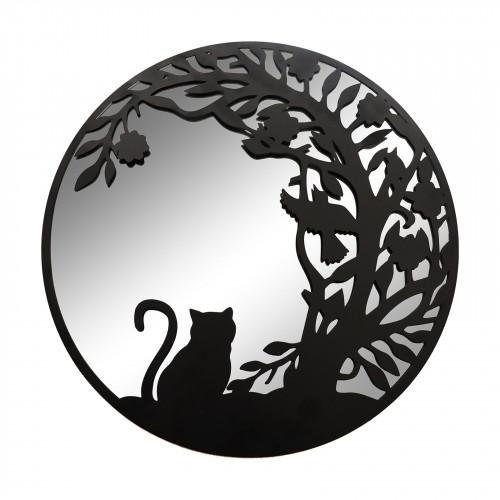 No.PM5065BK Black Metal Round Cat Silhouette Mirror
