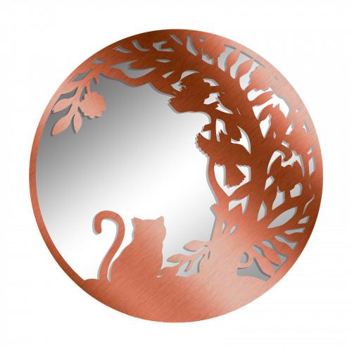 No.PM5065BZ Bronze Metal Round Cat Silhouette Mirror